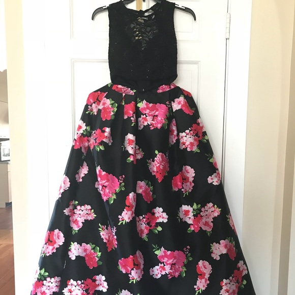 Macys Dresses Black And Pink Floral Prom Dress Poshmark